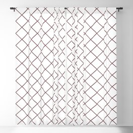 Pantone Red Pear Thin Line Stripe Grid (Pinstripe Pattern) on White Blackout Curtain