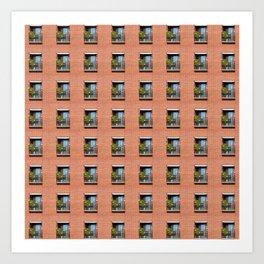 Window Brick Building Pattern Red Wall Art Print