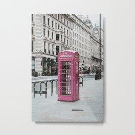 Pink Telephone Booth Romantic Photography Metal Print