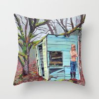 nudes Throw Pillows featuring Lewiston Biltmore by Kim Leutwyler