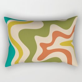 Liquid Swirl Retro Abstract Pattern in Mid Mod Colours on Beige Rectangular Pillow