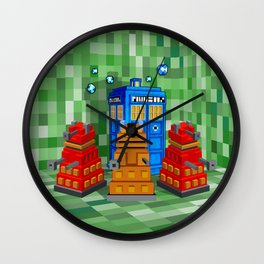 8bit Dalek with tardis doctor who iPhone 4 4s 5 5c 6, pillow case, mugs and tshirt Wall Clock