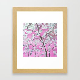 Elegant white pink floral painting pattern Framed Art Print