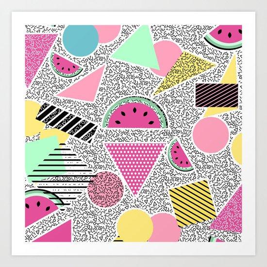 Modern geometric pattern Memphis patterns inspired Art Print