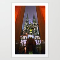 Atlas Globe and Cathedral, New York Art Print