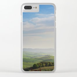 Beautiful spring evening froggy landscape in Tuscany countryside, Italy Clear iPhone Case