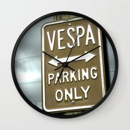Vespa parking poster Wall Clock