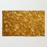 gold glitter Area & Throw Rugs featuring Gold Glitter 1324 by Cecilie Karoline
