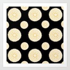 Black and Gold Polka-Dot Mandala Pattern Art Print