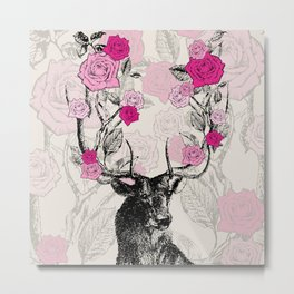 The Stag and Roses | Deer and Flowers | Pink | Vintage Stag | Vintage Deer | Antlers | Woodland | Metal Print