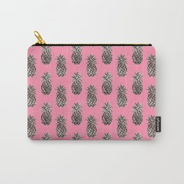 Pink Pineapple Metallic Carry-All Pouch