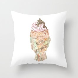 Watercolor Taiyaki Ice Cream Fish Throw Pillow
