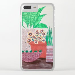 Plants in Printed Pots Clear iPhone Case