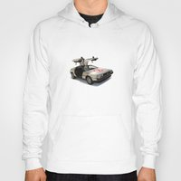 delorean Hoodies featuring Number 3 - DeLorean by Vin Zzep