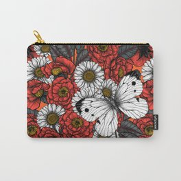 White butterfly and roses Carry-All Pouch