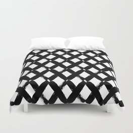 Black and White Criss Cross Pattern Modern Contemporary Duvet Cover