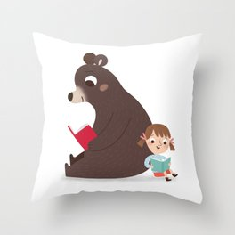 Reading with Bear Throw Pillow