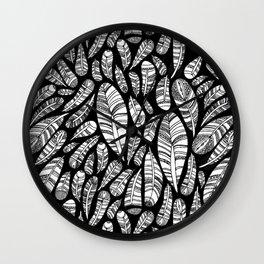 Tribal Feathers // Black Wall Clock