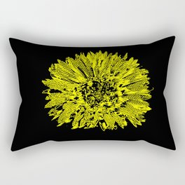 Stamped Wildflower in Yellow and Black Rectangular Pillow