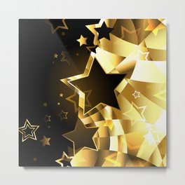 Abstract golden background with stars Metal Print