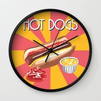 hot dog Wall Clocks featuring Hot dog by Kozza