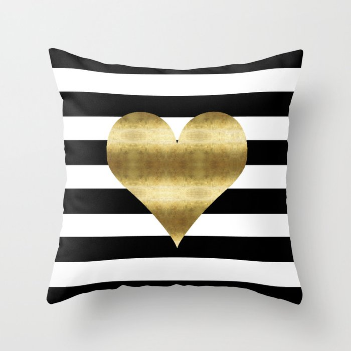 Gold Heart Black And White Stripe Throw Pillow By