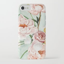 Blue Oval Peonies & Poppies iPhone Case