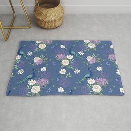 Peacocks Roses and Agapanthus Rug