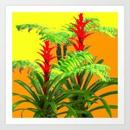 CONTEMPORARY FERNS & BROMELIADS YELLOW-ORANGE MODERN ART Art Print