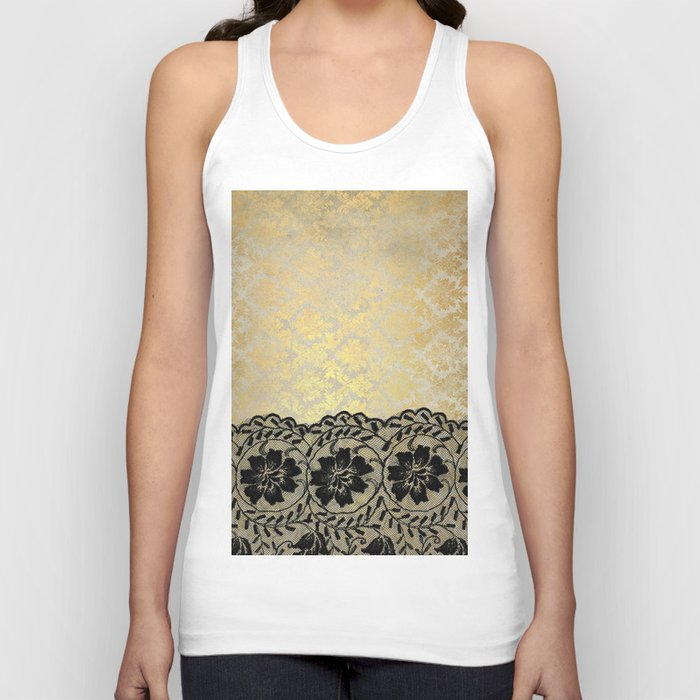 Black floral luxury lace on gold damask pattern Unisex Tanktop