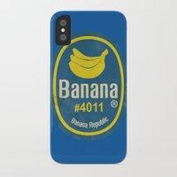 sticker iPhone & iPod Cases featuring Banana Sticker On Blue by Karolis Butenas