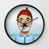 steve zissou Wall Clocks featuring Steve Zissou The Life Aquatic by Dave Flanagan