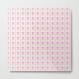 Vertical Pink Tulip Flower Pattern Metal Print