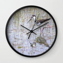 Black-necked Stilt, No. 2 painterly Wall Clock