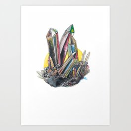 Rainbow Metallic Crystals Art Print