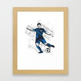 US USA America Hand drawn Soccer Player Futbol product Gift Framed Art Print