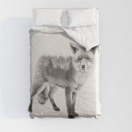 Fox Black and White Double Exposure Comforters