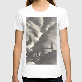 First Alpine Mountain snowfall of the season black and white photograph / photography by Rudolf Koppitz T-shirt