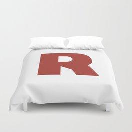 Letter R on White Duvet Cover