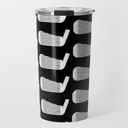 Golf Club Head Vintage Pattern (Black/White) Travel Mug