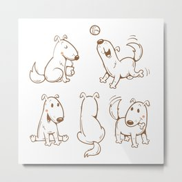 Cartoon funny dogs set. Vector image. Cute  puppy in different poses. Contour image. Metal Print
