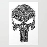 punisher Art Prints featuring Punisher  by christoph_loves_drawing