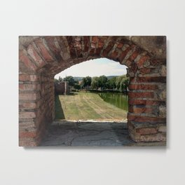 THROUGH THE LOOKING BRICK Metal Print