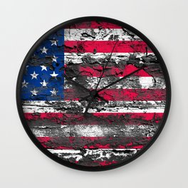 American Flag Painted on Wood Wall Clock