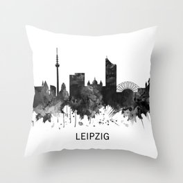 Leipzig Germany Skyline BW Throw Pillow