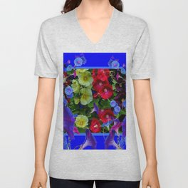 HOLLYHOCKS & MORNING GLORIES COTTAGE BLUE ART Unisex V-Neck