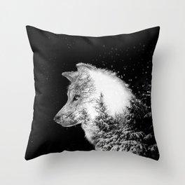 Winter Wolf Throw Pillow