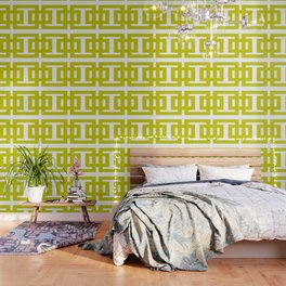 Chartreuse & White Graphic B Wallpaper