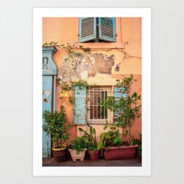 Rustic Wall in Marseille's Old Town Art Print