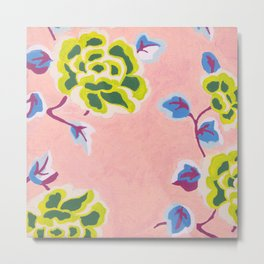 Japanese Flowers On Pink Background Metal Print